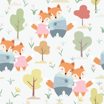 Cute a couple fox in the garden seamless pattern.