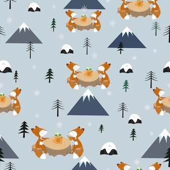 Cute couple fox have dinner seamless pattern.