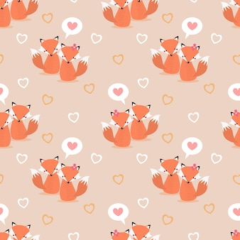 Cute couple fox and heart seamless pattern.