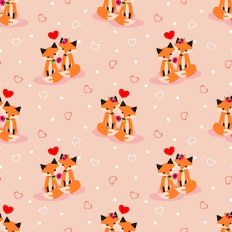 Cute couple fox in love seamless pattern.