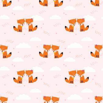 Cute couple fox in love seamless pattern