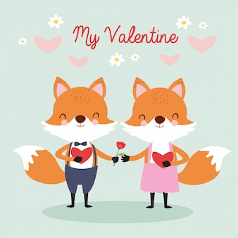 Cute couple fox in love for valentine greeting card