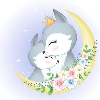 Cute couple fox and moon with flower wreath