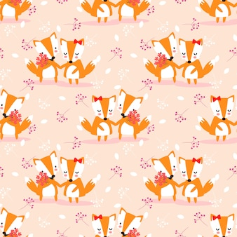 Cute couple fox seamless pattern.