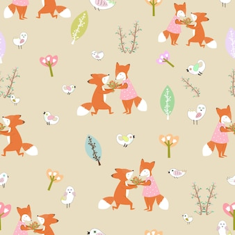 Cute couple fox sweet in forest seamless pattern.