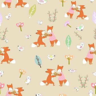 귀여운 커플 여우 달콤한 숲 원활한 패턴에.