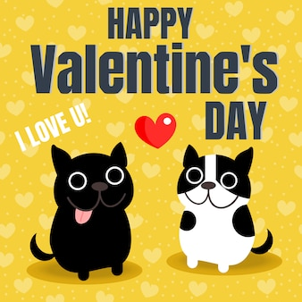 Cute couple french bulldog in valentine background.