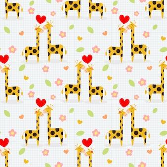 귀여운 커플 기린 완벽 한 패턴입니다.