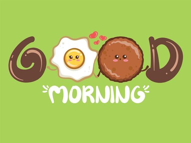 Милая пара жареная ветчина и жареные яйца концепции доброго утра. мультипликационный персонаж и иллюстрации.