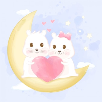 Cute couple of hamsters on a crescent moon
