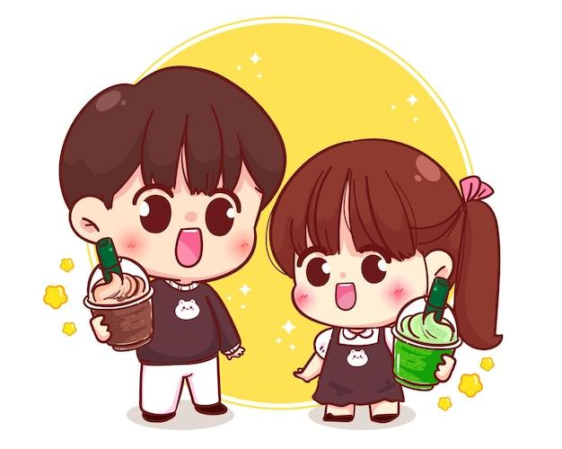 Cute couple holding coffee and matcha tea cartoon character illustration Premium Vector