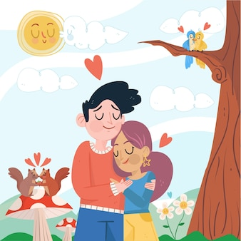 Cute couple hugging illustrated