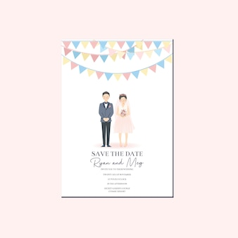 Cute couple illustration wedding invitation, save the date template with couple cartoon character in classic party decoration whimsical retro vintage vibe theme