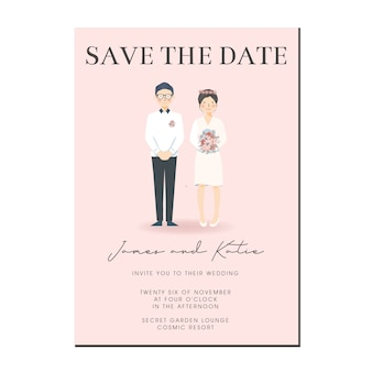 Cute couple illustration wedding invitation, save the date template with couple cartoon character.