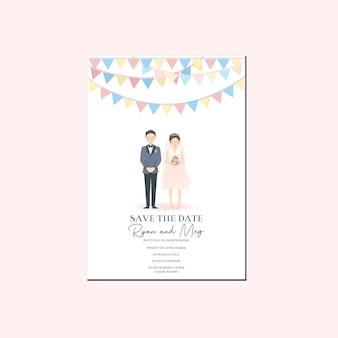 かわいいカップルのイラストの結婚式の招待状、古典的なパーティーの装飾の気まぐれなレトロなヴィンテージの雰囲気のテーマでカップルの漫画のキャラクターと日付テンプレートを保存