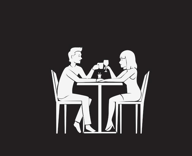 Милая пара в любви знакомства векторные иллюстрации. влюбленная пара в ресторане - годовщина знакомства, векторная иллюстрация.