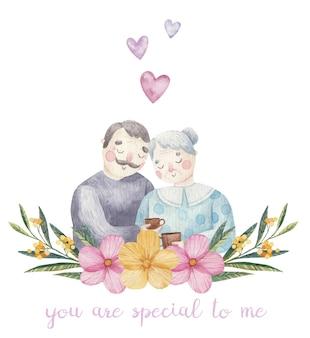 Милая влюбленная пара, бабушка и дедушка, день святого валентина