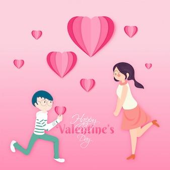 Милая пара в любви, счастливый день святого валентина концепции.