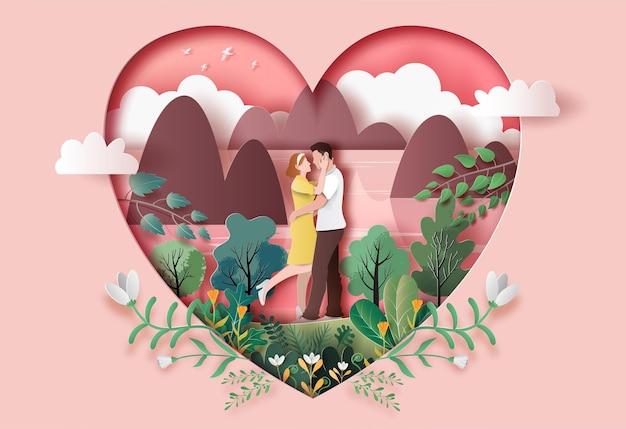 종이 그림에서 서로의 눈을 쳐다보고 사랑 포옹에 귀여운 커플