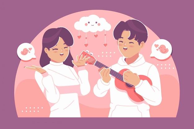 愛のイラスト背景でかわいいカップル