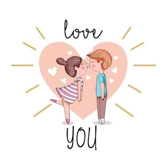 Милая пара в любви, целуя с сердцем.