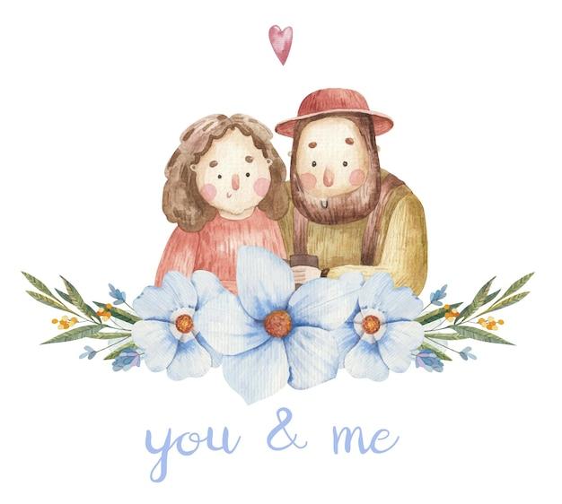 Милая влюбленная пара, рыжая девушка и мужчина с бородой