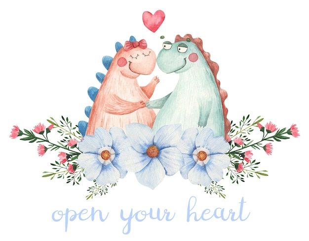 Милая пара в любви с динозаврами в цветах, открытка на день святого валентина