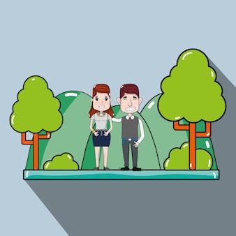 캐주얼 옷 공원에서 귀여운 커플