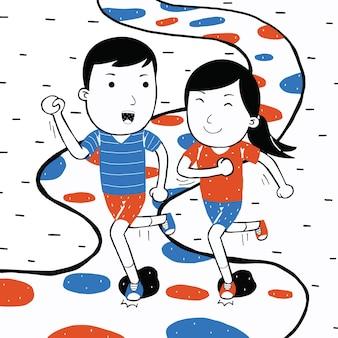 Cute couple jogging in cartoon style