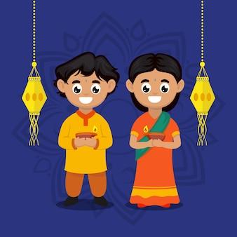 Милая пара детей с иллюстрацией персонажа темы фестиваля дивали индия