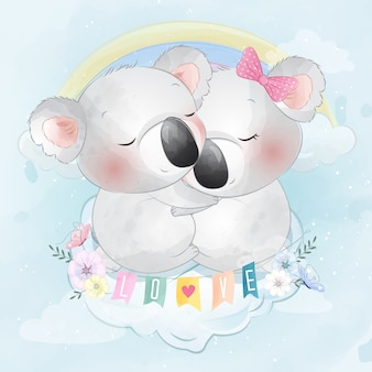 Cute couple koala bear sitting in the cloud