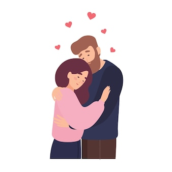 Cute couple in love. adorable young man and woman hugging or cuddling. romantic date with person found through dating website or mobile app. romance and affection. flat cartoon vector illustration.
