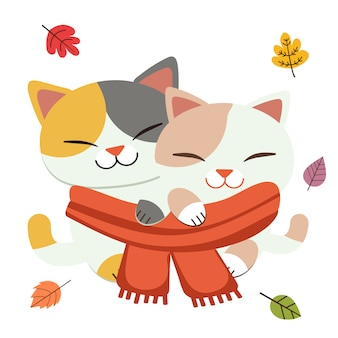 The cute couple love of cat wear a big scarf together with the leaves in flat vector style