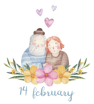 Cute couple in love, grandparents with long beard, valentine's day