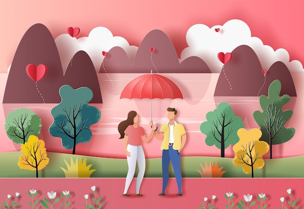 Cute couple in love holding an umbrella in a park in paper illustration