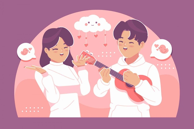 Cute couple in love illustration background