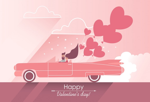 Cute couple in love on a pink car with heart-shaped balloons