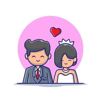 かわいいカップルの結婚男と女の漫画アイコンイラスト。人の結婚式のアイコンコンセプト分離プレミアム。フラット漫画スタイル