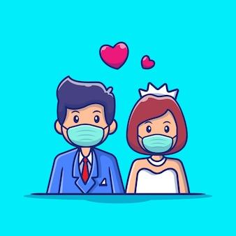 かわいいカップルの結婚の男性とマスク漫画アイコンイラストを着ている女性。人の結婚式のアイコンコンセプト分離プレミアム。フラット漫画スタイル