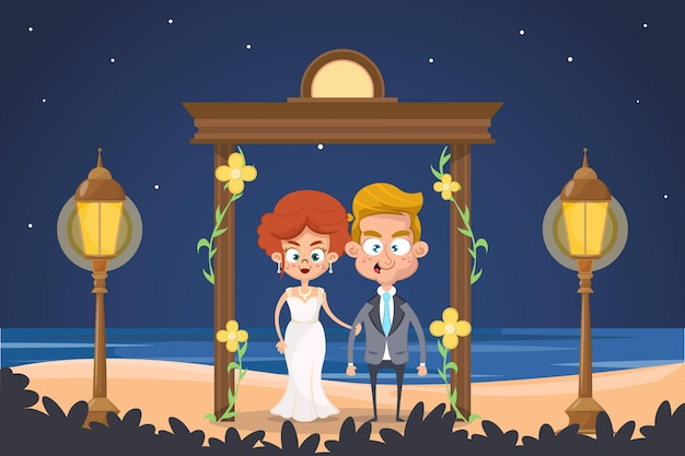 Cute couple marrying on the beach