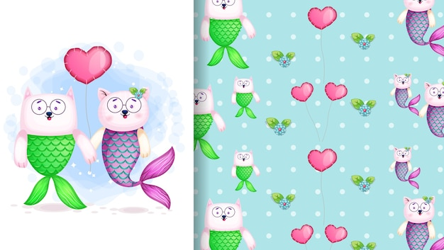 Cute couple mermaid cartoon character poster and seamless pattern