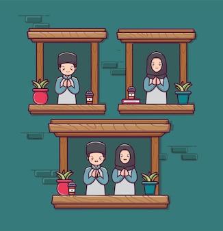 かわいいカップルのイスラム教徒のキャラクターのイスラムの男性と女性のキャラクターの漫画