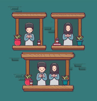 Cute couple moeslim character islamic man and women character  cartoon