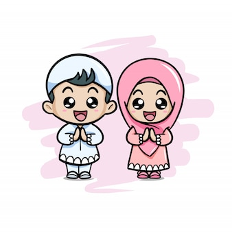 Cute couple moslem kids greeting salaam