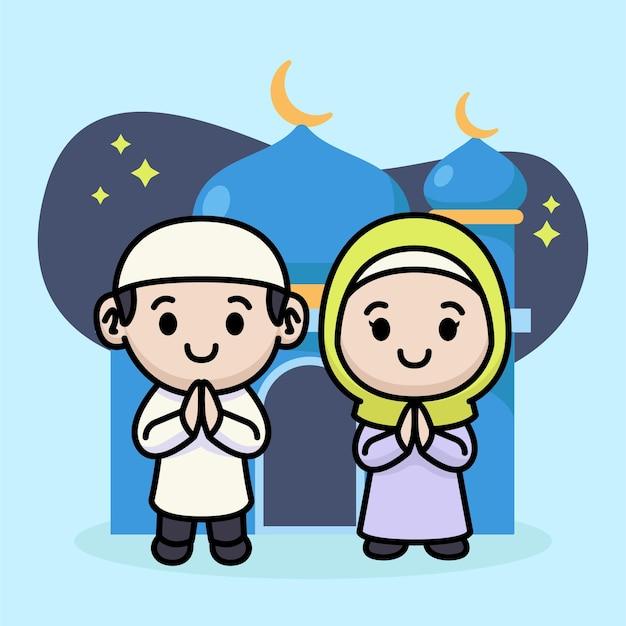 ラマダンカリームのためのかわいいカップルのイスラム教徒の子供たちの挨拶