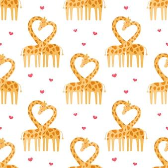 기린 원활한 패턴의 귀여운 커플입니다. 야생 동물의 사랑 이야기