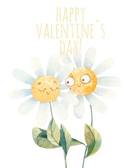 Милая пара влюбленных ромашек, открытка на день святого валентина, акварель