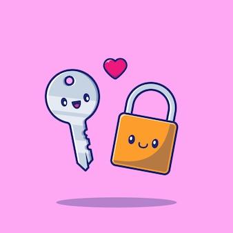 Милая пара замка и значок ключа иллюстрации. пара символов значок концепции изолированы. плоский мультяшный стиль