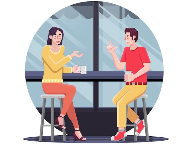 Милая пара на свидании в кафе ресторан иллюстрации плоский дизайн