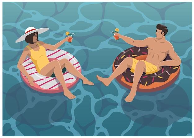 Милая пара на свидании у бассейна летние каникулы иллюстрации